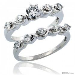 10k White Gold 2-Piece Diamond Engagement Ring Band Set w/ 0.73 Carat Brilliant Cut Diamonds, 1/8 in. (3mm) wide
