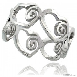 Sterling Silver Heart Cut Out Ring Flawless finish w/ Swirls, 3/8 in wide