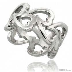 Sterling Silver Fancy Heart Cut Out Ring Flawless finish, 1/2 in wide