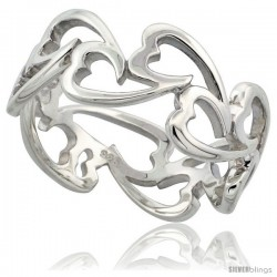 Sterling Silver Fancy Heart Cut Out Ring Flawless finish, 5/16 in wide