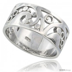 Sterling Silver Fancy Ring Flawless finish w/ Spirals & Bubbles, 3/8 in wide