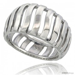 Sterling Silver Dome Ring Flawless finish w/ Bars, 1/2 in wide