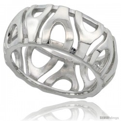 Sterling Silver Dome Ring Flawless finish w/ Y Pattern, 3/8 in wide