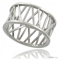 Sterling Silver Ring Flawless finish w/ X Bar Pattern, 7/16 in wide