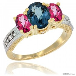 14k Yellow Gold Ladies Oval Natural London Blue Topaz 3-Stone Ring with Pink Topaz Sides Diamond Accent