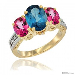 14K Yellow Gold Ladies 3-Stone Oval Natural London Blue Topaz Ring with Pink Topaz Sides Diamond Accent