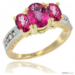 14k Yellow Gold Ladies Oval Natural Pink Topaz 3-Stone Ring Diamond Accent