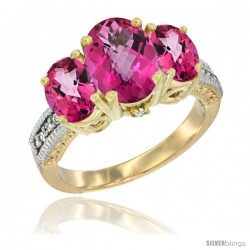 14K Yellow Gold Ladies 3-Stone Oval Natural Pink Topaz Ring Diamond Accent