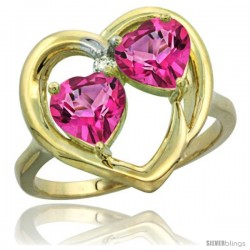 14k Yellow Gold 2-Stone Heart Ring 6 mm Natural Pink Topaz Stones Diamond Accent
