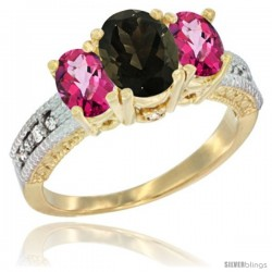 14k Yellow Gold Ladies Oval Natural Smoky Topaz 3-Stone Ring with Pink Topaz Sides Diamond Accent