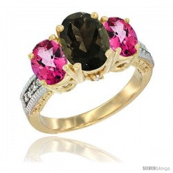 14K Yellow Gold Ladies 3-Stone Oval Natural Smoky Topaz Ring with Pink Topaz Sides Diamond Accent