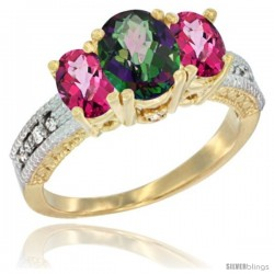 14k Yellow Gold Ladies Oval Natural Mystic Topaz 3-Stone Ring with Pink Topaz Sides Diamond Accent