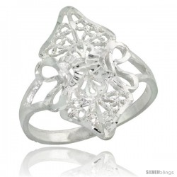 Sterling Silver Filigree Diamond-shaped Floral Ring, 3/4 in