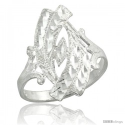 Sterling Silver Filigree Navette-shaped Diamond Cut Ring, 7/8 in