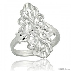 Sterling Silver Filigree Floral Ring, 7/8 in