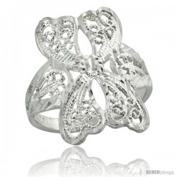 Sterling Silver Filigree Butterfly Ring, 1 in