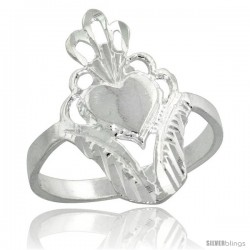 Sterling Silver Filigree Heart Ring, 3/4 in