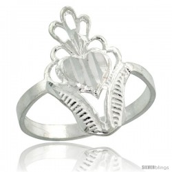 Sterling Silver Filigree Heart Ring, 3/4 in -Style Fr525