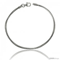 Sterling Silver Italian Thin Franco Chain Necklace 1.5mm Rhodium Finish Nickel Free