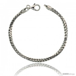 Sterling Silver Italian Franco Chain Necklace 3mm Rhodium Finish Nickel Free