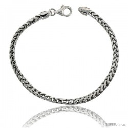 Sterling Silver Italian Franco Chain Necklace 3.7mm Rhodium Finish Nickel Free