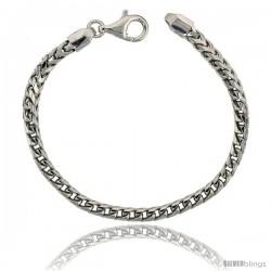 Sterling Silver Italian Heavy Franco Chain Necklace 4.2mm Rhodium Finish Nickel Free