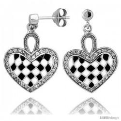 "Sterling Silver 7/8"" (23 mm) tall Checkered Heart Dangle Earrings, Rhodium Plated w/ Black & White Enamel Designs"