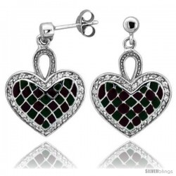 "Sterling Silver 7/8"" (23 mm) tall Checkered Heart Dangle Earrings, Rhodium Plated w/ Green & Red Enamel Designs"