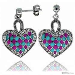 "Sterling Silver 7/8"" (23 mm) tall Checkered Heart Dangle Earrings, Rhodium Plated w/ Pink & Blue Enamel Designs"