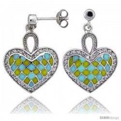 "Sterling Silver 7/8"" (23 mm) tall Checkered Heart Dangle Earrings, Rhodium Plated w/ Yellow & Blue Enamel Designs"