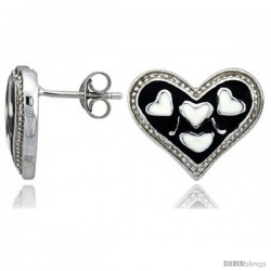 "Sterling Silver 1/2"" (13 mm) tall Heart Post Earrings, Rhodium Plated w/ Black & White Enamel Designs"