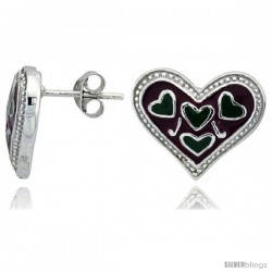 "Sterling Silver 1/2"" (13 mm) tall Heart Post Earrings, Rhodium Plated w/ Red & Green Enamel Designs"