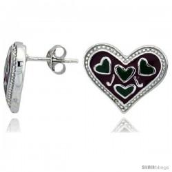 "Sterling Silver 1/2"" (13 mm) tall Heart Post Earrings, Rhodium Plated w/ Red & Green Enamel Designs"