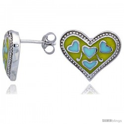 "Sterling Silver 1/2"" (13 mm) tall Heart Post Earrings, Rhodium Plated w/ Yellow & Blue Enamel Designs"