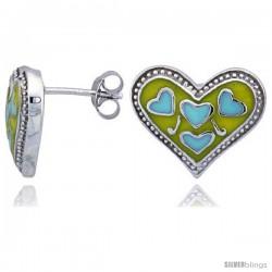 "Sterling Silver 1/2"" (13 mm) tall Heart Post Earrings, Rhodium Plated w/ Yellow & Blue Enamel Designs"