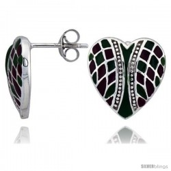 "Sterling Silver 9/16"" (15 mm) tall Checkered Heart Post Earrings, Rhodium Plated w/ Green & Red Enamel Designs"