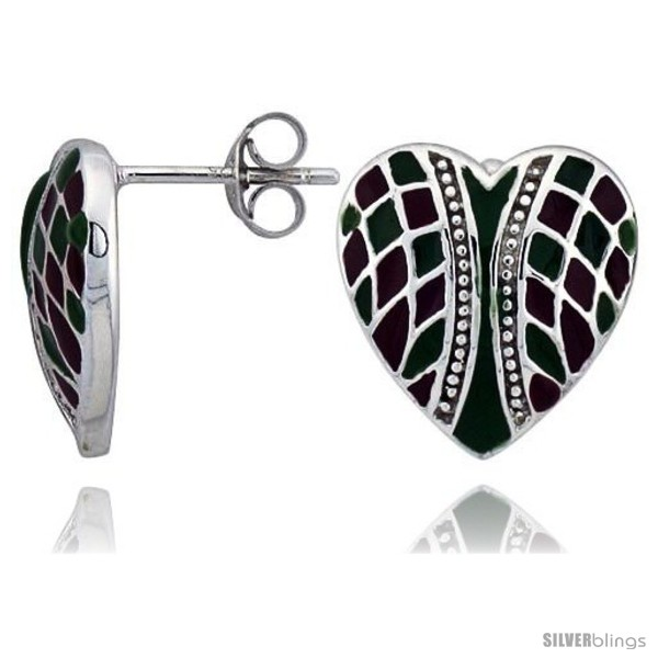 https://www.silverblings.com/32200-thickbox_default/sterling-silver-9-16-15-mm-tall-checkered-heart-post-earrings-rhodium-plated-w-green-red-enamel-designs.jpg