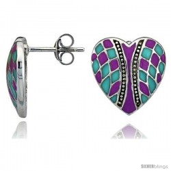 "Sterling Silver 9/16"" (15 mm) tall Checkered Heart Post Earrings, Rhodium Plated w/ Pink & Blue Enamel Designs"