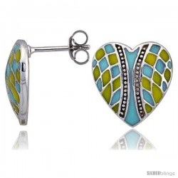 "Sterling Silver 9/16"" (15 mm) tall Checkered Heart Post Earrings, Rhodium Plated w/ Blue & Yellow Enamel Designs"