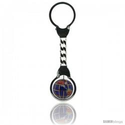 Sterling Silver Key Ring w/ Gemstone Globe 3/4 in. (20 mm)