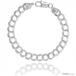 Sterling Silver Italian Double Curb Charm Bracelet 7.7mm wide