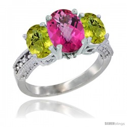 10K White Gold Ladies Natural Pink Topaz Oval 3 Stone Ring with Lemon Quartz Sides Diamond Accent