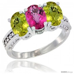 10K White Gold Natural Pink Topaz & Lemon Quartz Sides Ring 3-Stone Oval 7x5 mm Diamond Accent