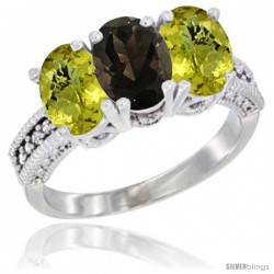 10K White Gold Natural Smoky Topaz & Lemon Quartz Sides Ring 3-Stone Oval 7x5 mm Diamond Accent