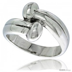 Sterling Silver Double Bead Ring 1/2 in wide
