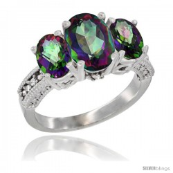 10K White Gold Ladies Natural Mystic Topaz Oval 3 Stone Ring Diamond Accent