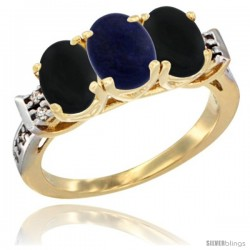 10K Yellow Gold Natural Lapis & Black Onyx Sides Ring 3-Stone Oval 7x5 mm Diamond Accent