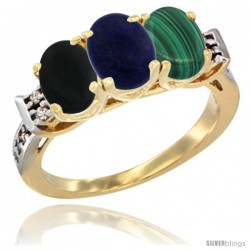10K Yellow Gold Natural Black Onyx, Lapis & Malachite Ring 3-Stone Oval 7x5 mm Diamond Accent