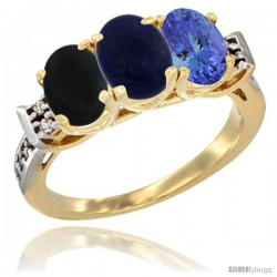 10K Yellow Gold Natural Black Onyx, Lapis & Tanzanite Ring 3-Stone Oval 7x5 mm Diamond Accent