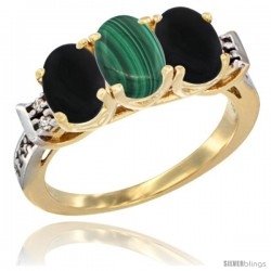 10K Yellow Gold Natural Malachite & Black Onyx Sides Ring 3-Stone Oval 7x5 mm Diamond Accent